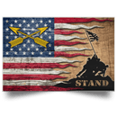 U.S. Army Special Forces (USASFC) Stand For The Flag Satin Landscape Poster