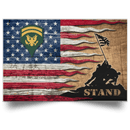 US Army E-6 SPC E6 SP6 Specialist 6 Specialist 1st Class Stand For The Flag Satin Landscape Poster