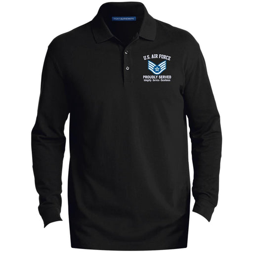 US Air Force E-5 Staff Sergeant SSgt E5 Noncommissioned Officer Core Values Embroidered LS Polo Shirt - Colorblock 1/2 Zip