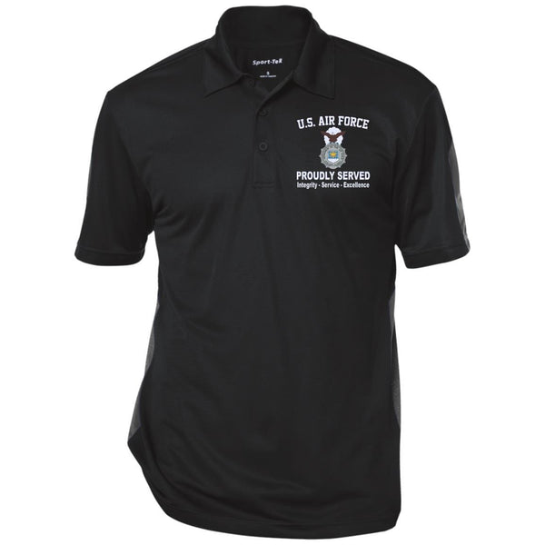 US Air Force Security Police Proudly Served Core Values Embroidered Polo Shirt