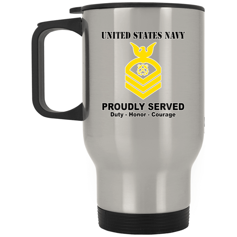 US Navy E-7 Chief Petty Officer E7 CPO Senior Noncommissioned Officer Ranks T shirt White Coffee Mug - Stainless Travel Mug