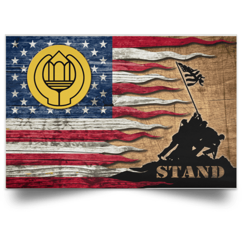 US Army Chaplain Assistant Stand For The Flag Satin Landscape Poster