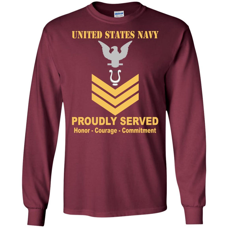 Navy Musician Navy MU E-6 Rating Badges Proudly Served T-Shirt For Men On Front