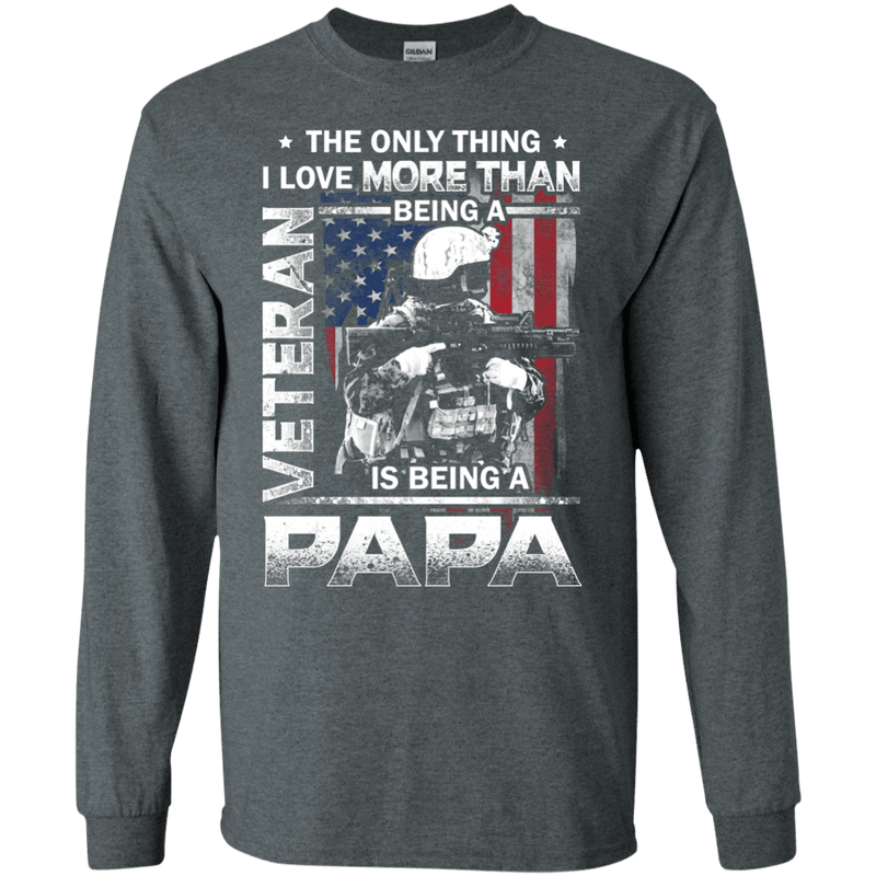 I love Being A Papa Veteran Men Front T Shirts