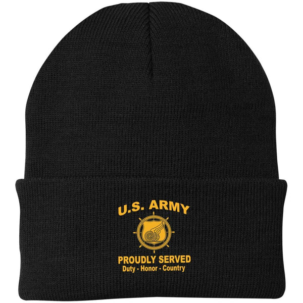 US Army Transportation Corps Proudly Served Military Mottos Embroidered Port Authority Knit Cap
