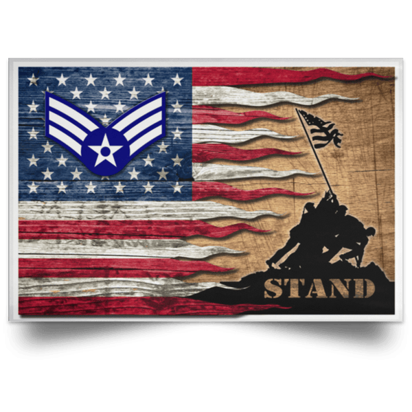 US Air Force E-4 Senior Airman SrA E4 Enlisted Airman Ranks AF Rank Stand For The Flag Satin Landscape Poster