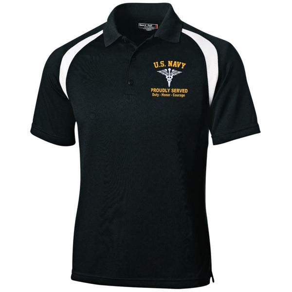 US Navy Hospital Corpsman HM Logo Embroidered Sport-Tek Moisture-Wicking Tag-Free Golf Shirt