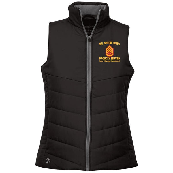 M.Corps E-6 SSgt Embroidered Holloway Ladies' Quilted Vest