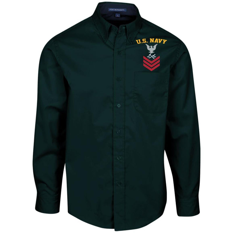 US Navy Aviation Support Equipment Tech AS E-6 Rating Badges Embroidered Port Authority Men's LS Dress Shirt
