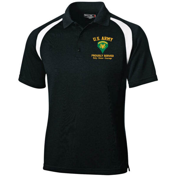 US Army E-5 SPC E5 Specialist Ranks Embroidered Sport-Tek Moisture-Wicking Tag-Free Golf Shirt