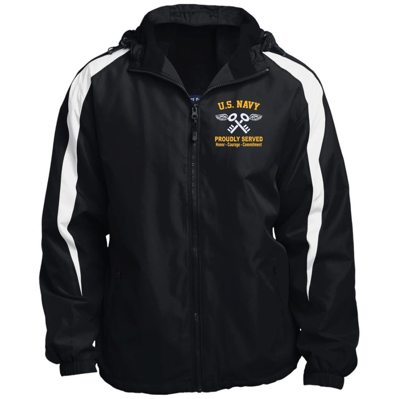 US Navy Aviation Storekeeper AK Logo JST81 Sport-Tek Fleece Lined Colorblocked Hooded Jacket