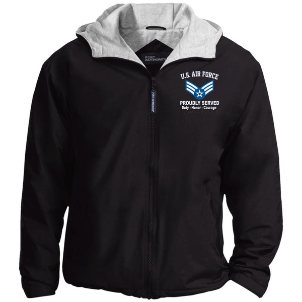 US Air Force E-4 Senior Airman SrA E4 Enlisted Airman Proudly Served Embroidered Hoodie Team Jacket