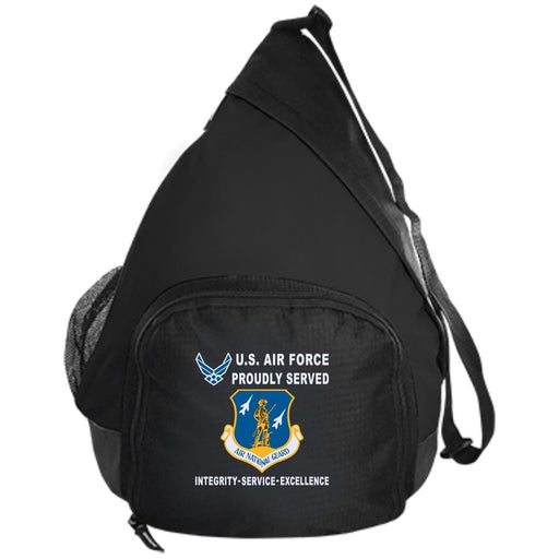 US Air Force Air National Guard Proudly Served-D04 Embroidered Active Sling Pack
