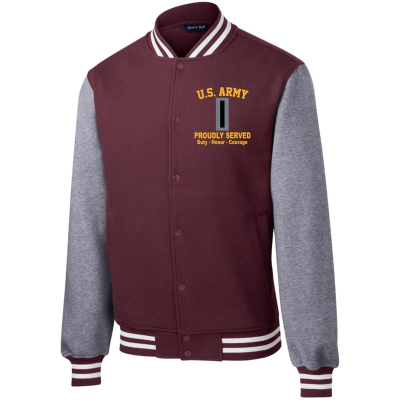 US Army W-5 Chief Warrant Officer 5 W5 CW5 Warrant Officer Embroidered Sport-Tek Fleece Letterman Jacket