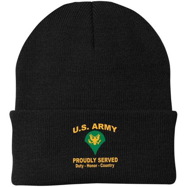 US Army E-4 SPC E4 SP4 Specialist 4 Specialist 3rd Class Proudly Served Military Mottos Embroidered Port Authority Knit Cap
