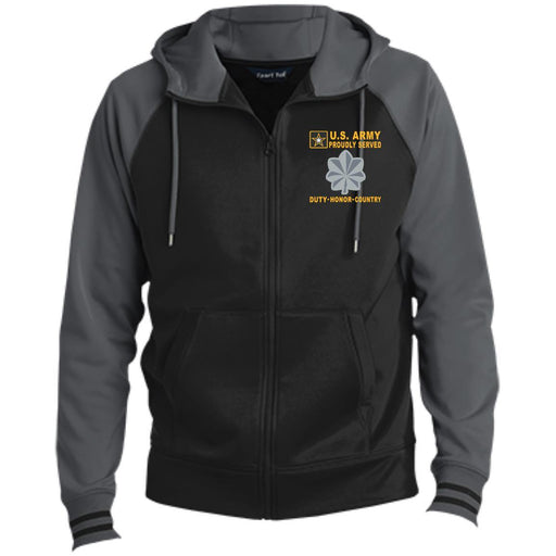 US Army O-5 Lieutenant Colonel O5 LTC Field Officer - Proudly Served-D04 Embroidered Sport-Tek® Full-Zip Hooded Jacket