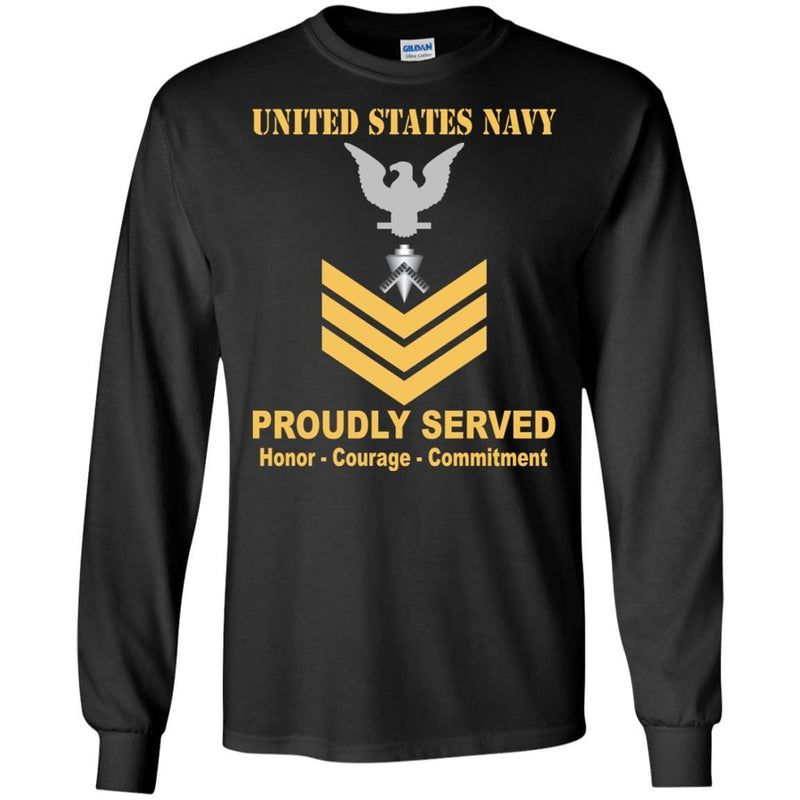 U.S Navy Builder Navy BU E-6 Rating Badges Proudly Served T-Shirt For Men On Front