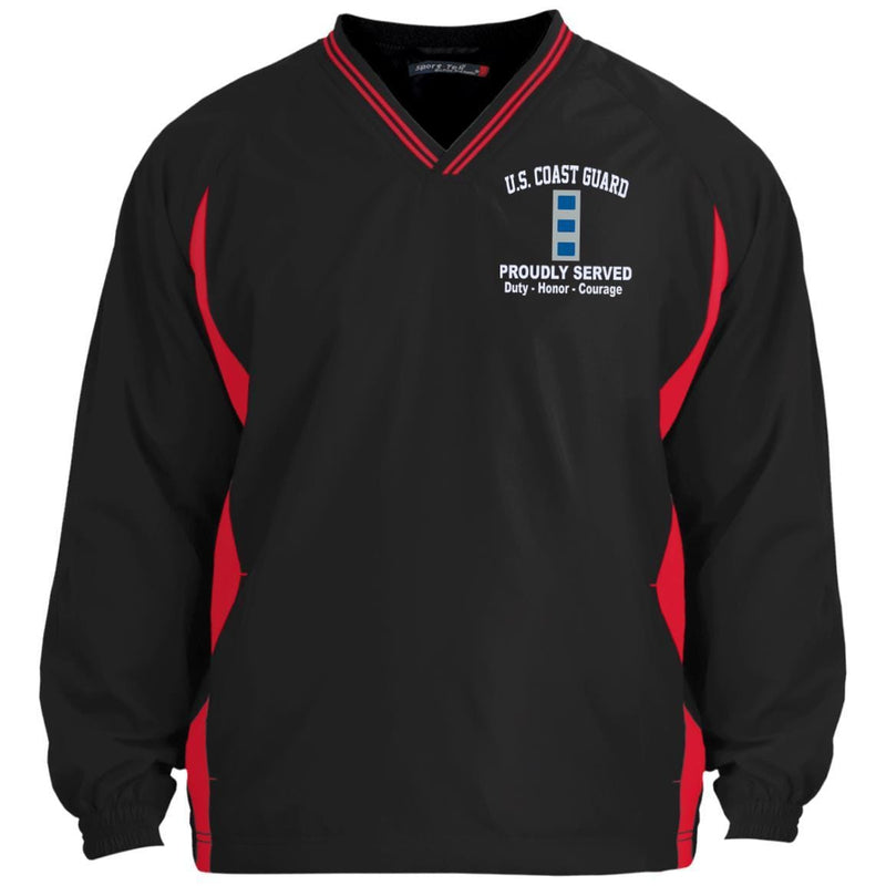 US Coast Guard W-4 Chief Warrant Officer 4 W4 CWO-4 Chief Warrant Officer Proudly Served Embroidered Sport-Tek Tipped V-Neck Windshirt