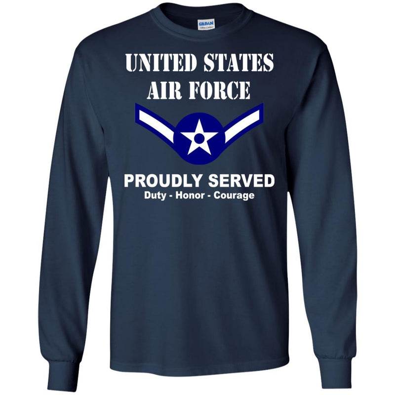 US Air Force E-2 Airman Amn E2 Ranks Enlisted Airman Men Front T Shirt For Air Force