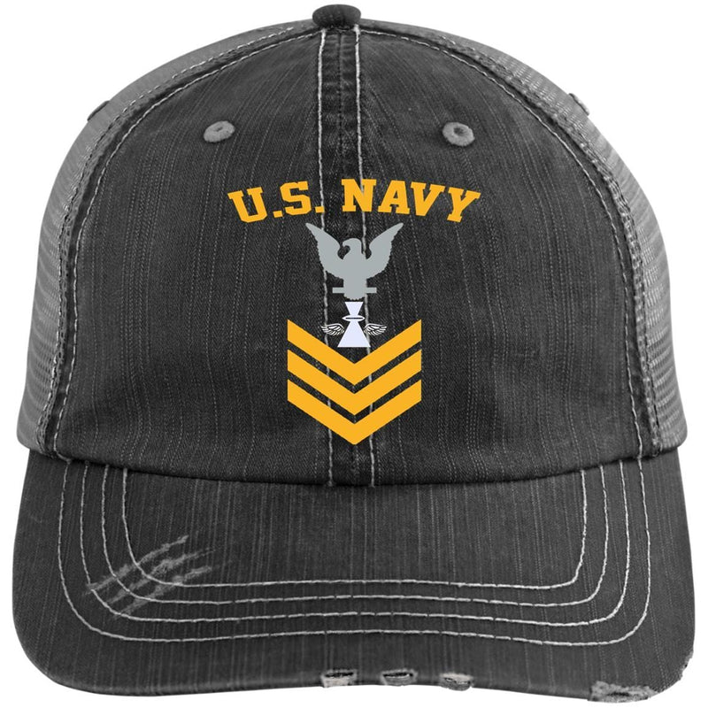 US Navy Aviation Photographer's Mate PH E-6 Rating Badges Gold Stripe Embroidered Distressed Unstructured Trucker Cap
