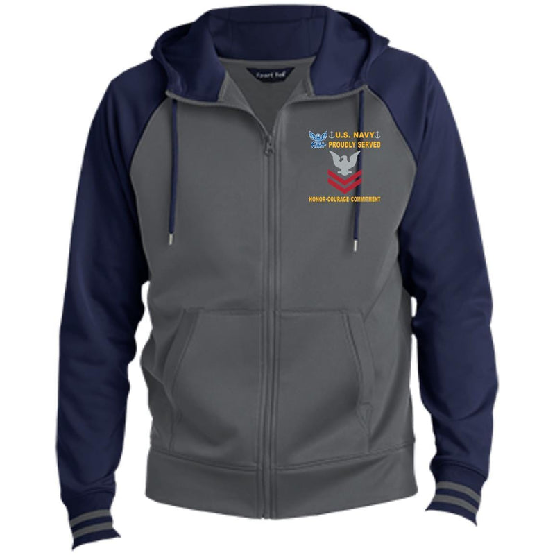 US Navy E-5 Petty Officer Second Class E5 PO2 Collar Device Proudly Served-D04 Embroidered Sport-Tek® Full-Zip Hooded Jacket