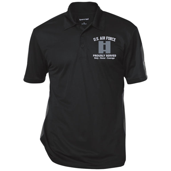 US AIR FORCE O-3 CAPTAIN CAPT O3 COMMISSIONED OFFICER RANKS Embroidered Performance Polo Shirt