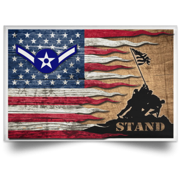 US Air Force E-2 Airman Amn E2 Ranks Enlisted Airman Rank Stand For The Flag Satin Landscape Poster