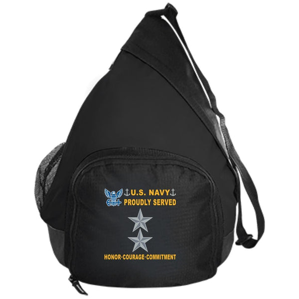US Navy O-8 Rear Admiral O8 RADM Flag Officer Proudly Served-D04 Embroidered Active Sling Pack