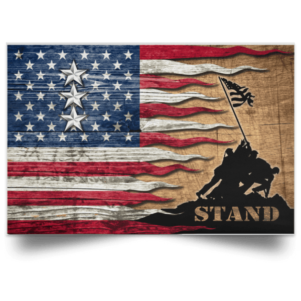 US Army O-9 Lieutenant General O9 LTG General Officer Stand For The Flag Satin Landscape Poster