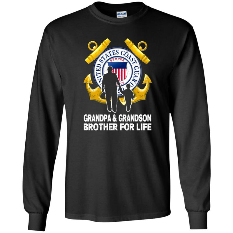 COAST GUARD GRANDPA AND GRANDDAUGHTER ( GRANDSON ) BROTHER FOR LIFE T-Shirt On Front