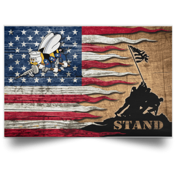 US Navy Seabees Stand For The Flag Satin Landscape Poster