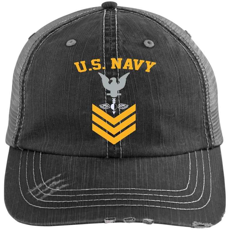 US Navy Aerographers Mate AG E-6 Rating Badges Gold Stripe Embroidered Distressed Unstructured Trucker Cap