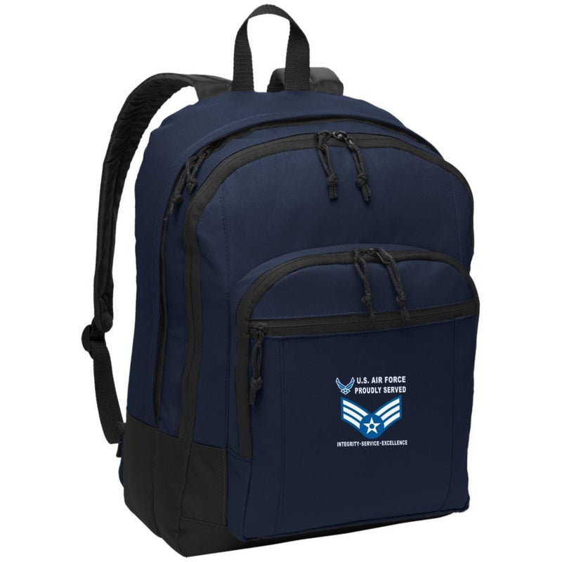 US Air Force E-4 Senior Airman SrA E4 Enlisted Airman Proudly Served-D04 Embroidered Backpack