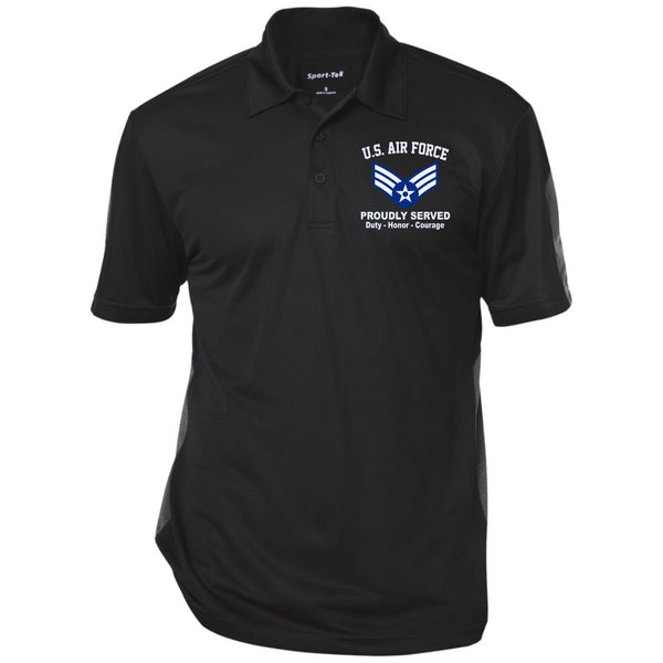 US AIR FORCE E-4 SENIOR AIRMAN SRA E4 ENLISTED AIRMAN RANKS Embroidered Performance Polo Shirt