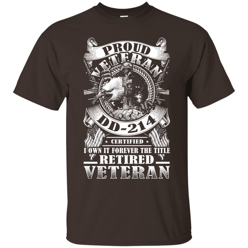 Proud Veteran DD 214 with Title Retired Veteran Front T Shirts