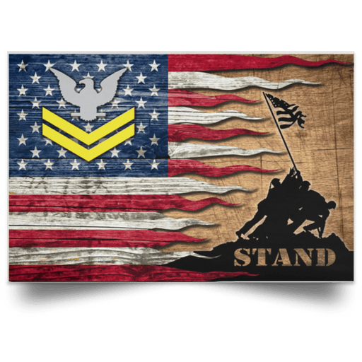 US Navy E-5 Petty Officer Second Class E5 PO2 Gold Stripe Collar Device Stand For The Flag Satin Landscape Poster