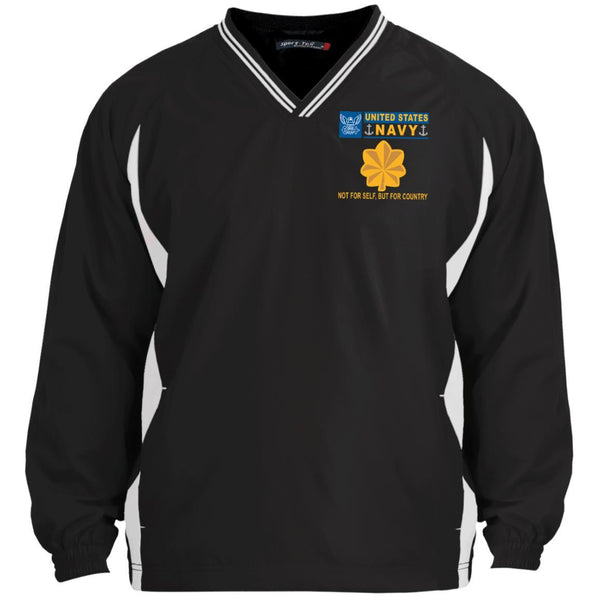 US Navy O-4 Lieutenant Commander O4 LCDR Junior Officer Not For Self But For Country Sport-Tek Tipped V-Neck Windshirt