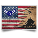 US Air Force E-3 Airman First Class A1C E3 Ranks Enlisted Airman AF Rank Stand For The Flag Satin Landscape Poster