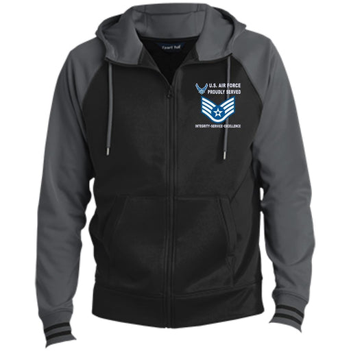 US Air Force E-5 Staff Sergeant SSgt E5 Noncommissioned Officer Proudly Served-D04 Embroidered Sport-Tek® Full-Zip Hooded Jacket