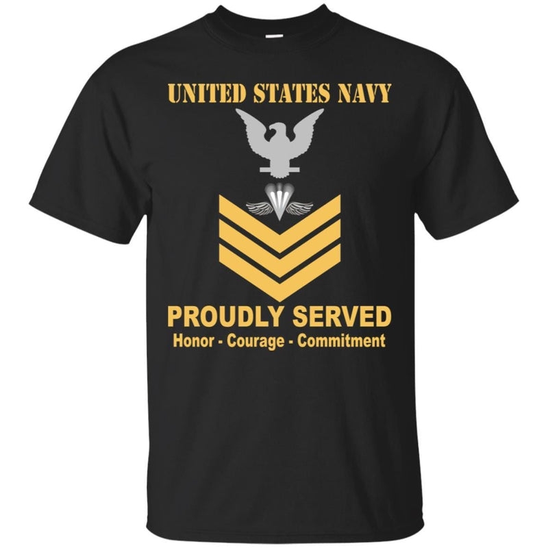 Navy Aircrew Survival Equipmentman Navy PR E-6 Rating Badges Proudly Served T-Shirt For Men On Front