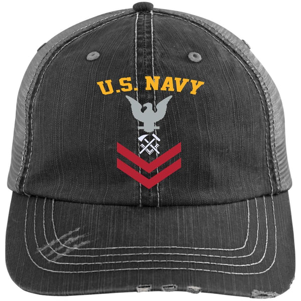 US Navy Hull Maintenance Technician HT E-5 Rating Badges Embroidered Distressed Unstructured Trucker Cap