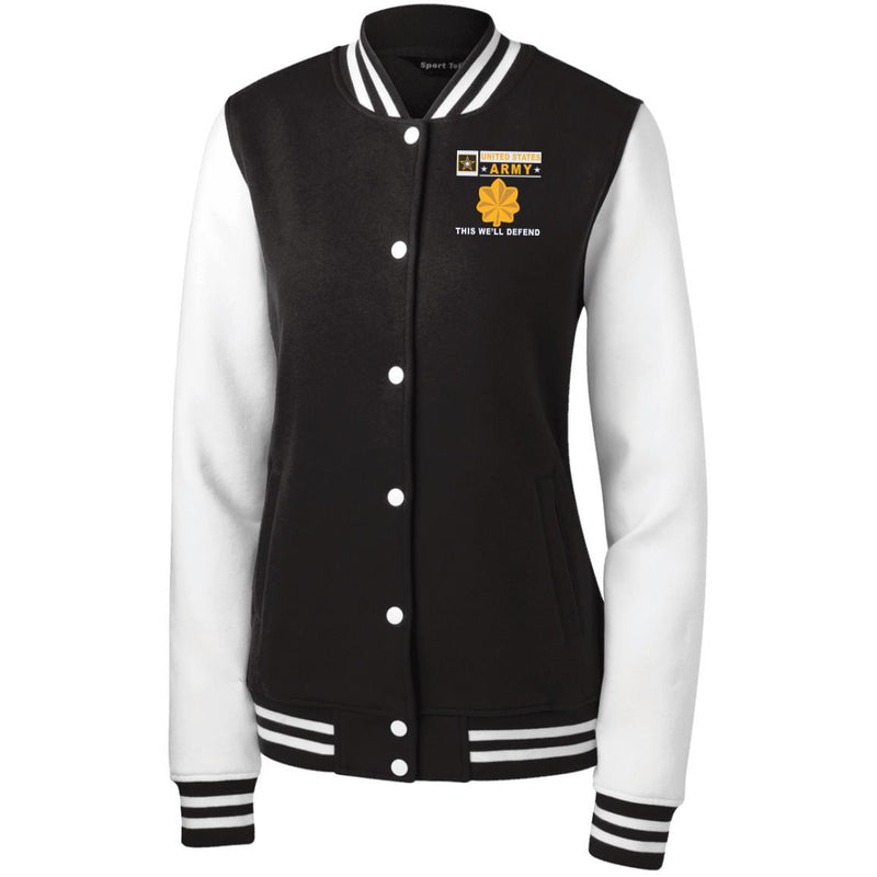 US Army O-4 Major O4 MAJ Field Officer- This we'll defend Men/Women Sport-Tek® Fleece Letterman Jacket