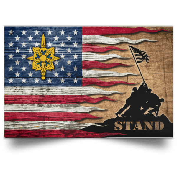 US Army Military Intelligence Branch Stand For The Flag Satin Landscape Poster