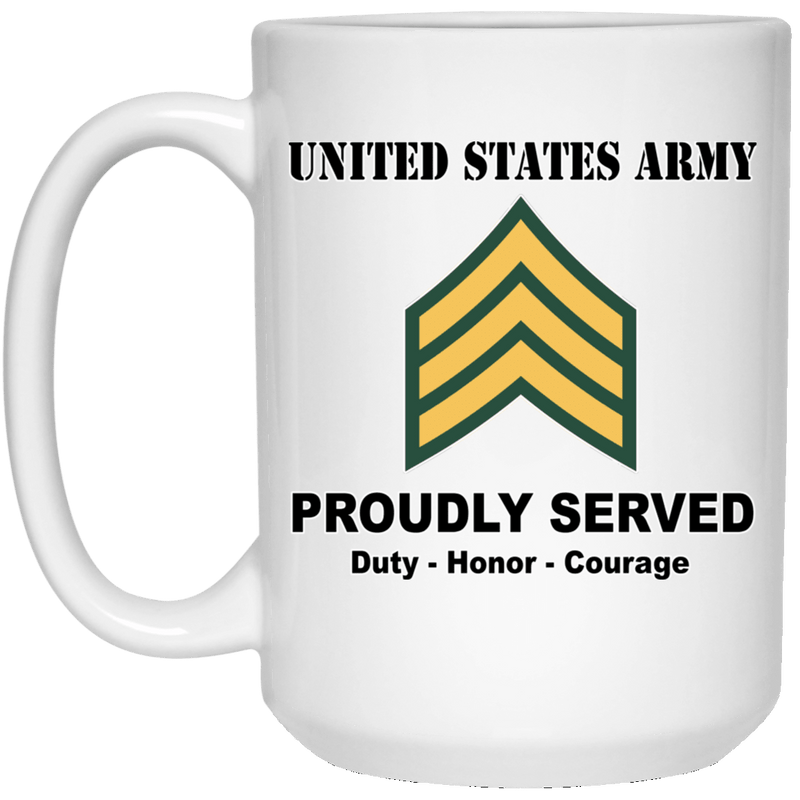 US Army E-5 Sergeant E5 SGT Noncommissioned Officer Ranks White Coffee Mug - Stainless Travel Mug