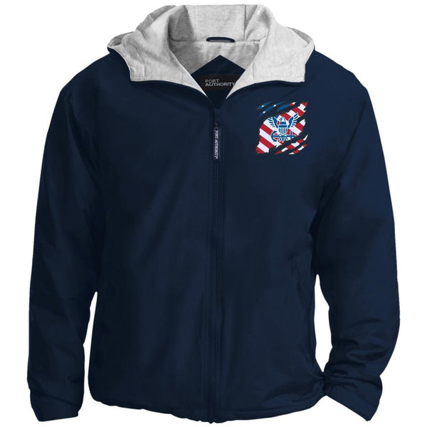 US Navy Logo And American Flag At Heart Embroidered Team Jacket