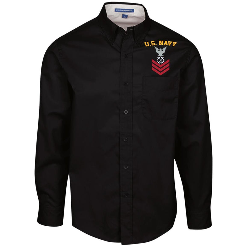US Navy Boatswains Mate BM E-6 Rating Badges Embroidered Port Authority Men's LS Dress Shirt
