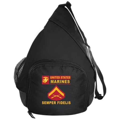 USMC E-3 Lance Corporal E3 LCpl Junior Enlisted- Semper Fidelis Embroidered Active Sling Pack