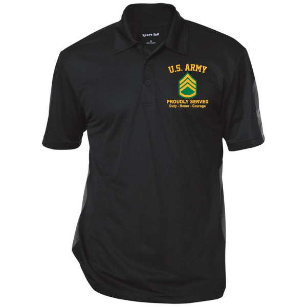 US Army E-6 Staff Sergeant E6 SSG Noncommissioned Officer Ranks Performance Embroidered Polo Shirt