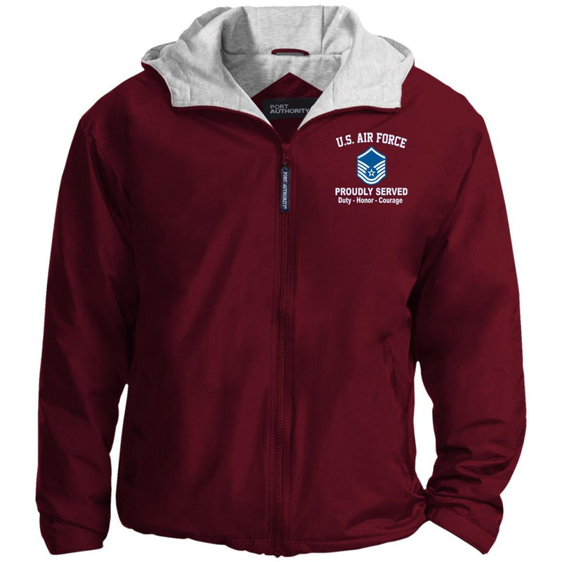 US Air Force E-7 Master Sergeant MSgt E7 Noncommissioned Officer Proudly Served Embroidered Port Authority® Hoodie Team Jacket