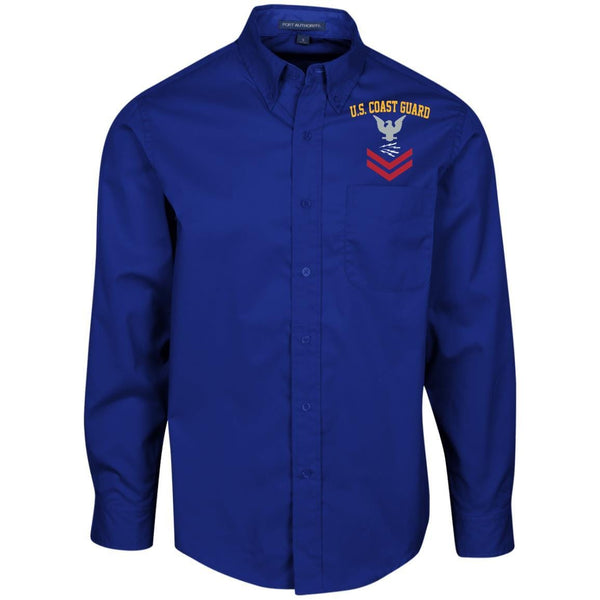 US Coast Guard Telecommunications Specialist TC E-5 Rating Badges Embroidered Port Authority Men's LS Dress Shirt